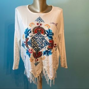 Desigual fringed hummingbird sweater